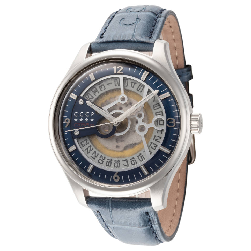 CCCP 43mm Blue Dial Leather Men's Watch