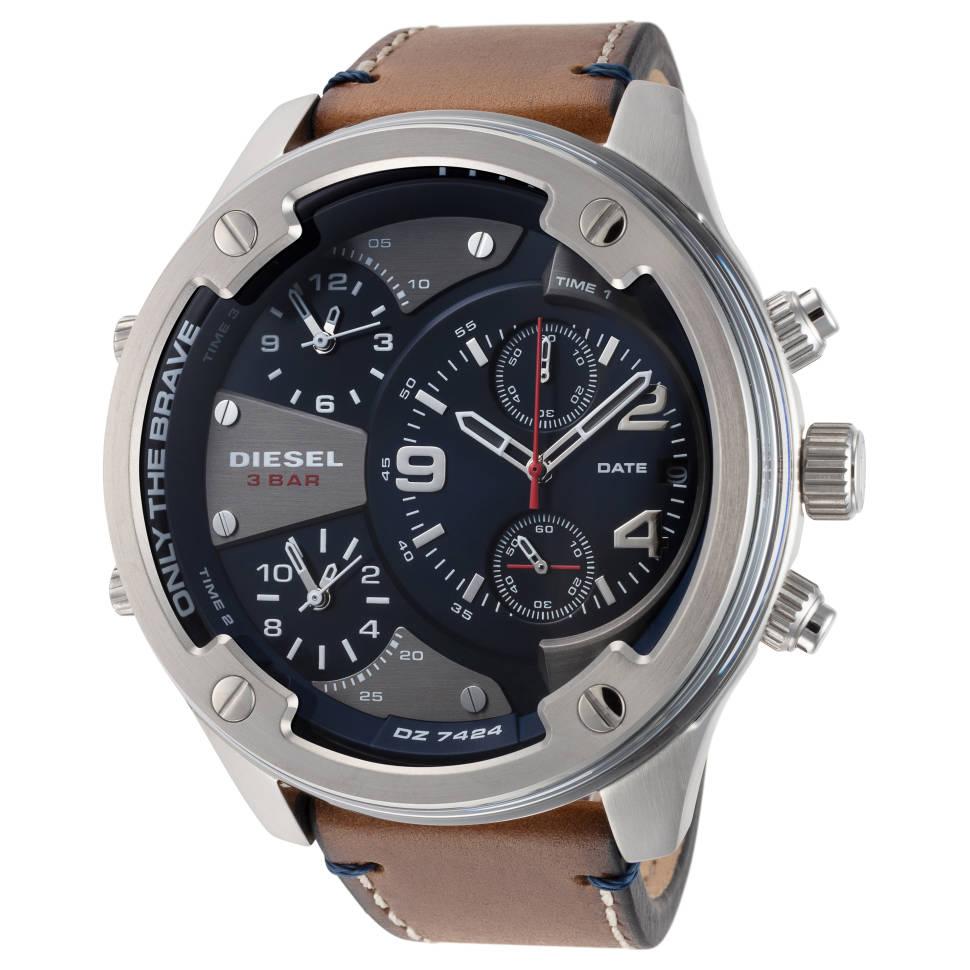 Diesel Boltdown 56 mm Leather Strap Men's Quartz Watch