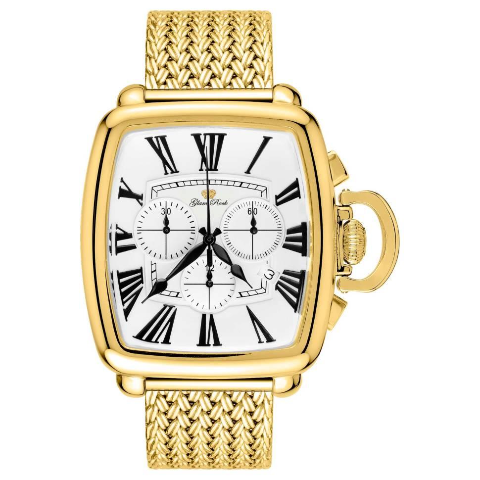 Glam Rock Vintage 40mm White Dial Stainless Steel Men's Watch (GR28102F-N)