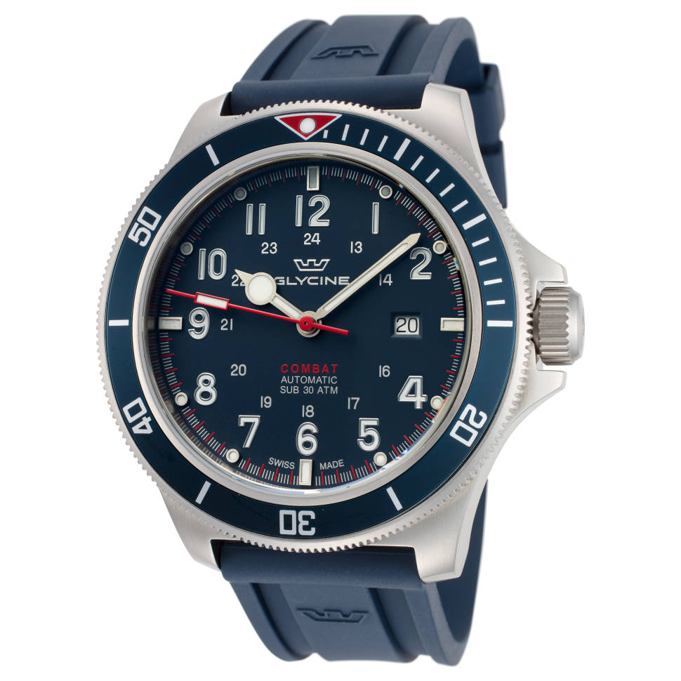 Glycine Combat Sub 46mm Dark Blue Dial Silicone Men's Watch