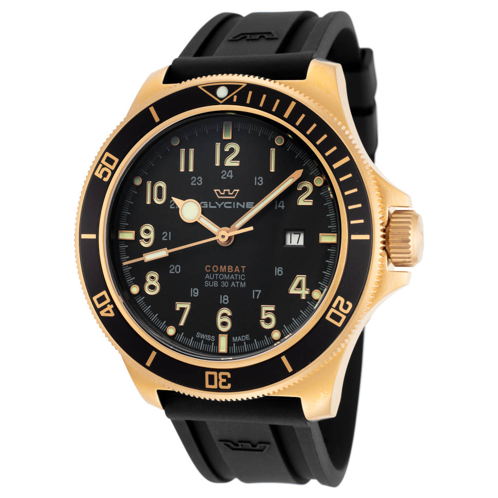 Glycine 46mm Black Dial Silicone Men's Watch