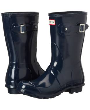 Hunter Original Short Gloss Rain Boots WFS1000RGL-NVY-6