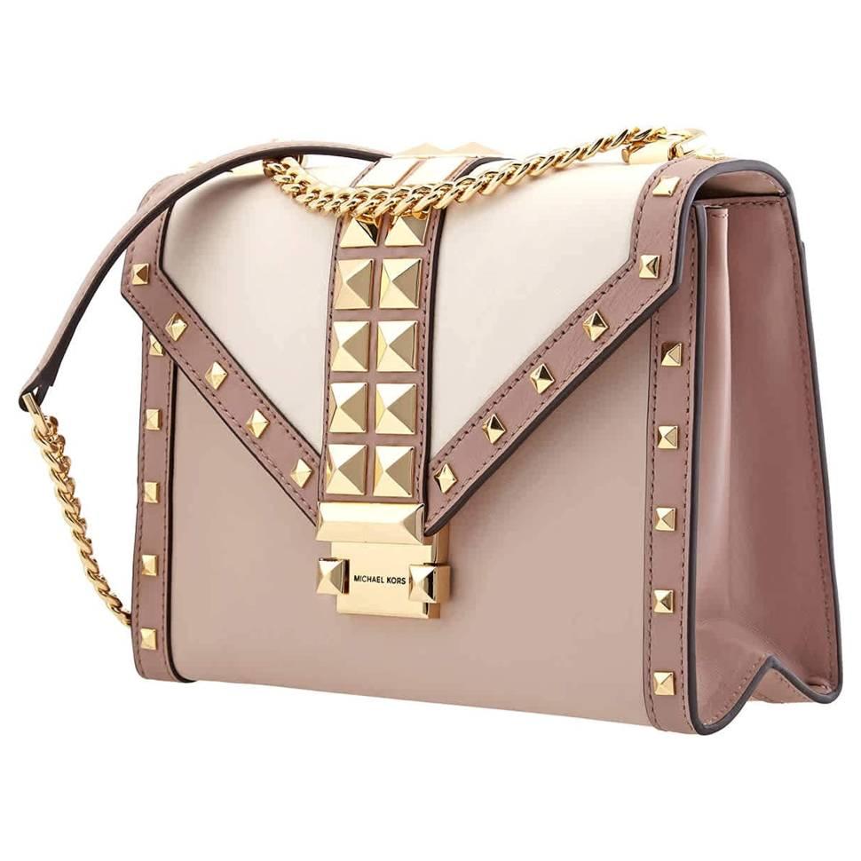 Michael Kors Whitney Studded Tri-Color Leather Convertible Women's Shoulder Bag