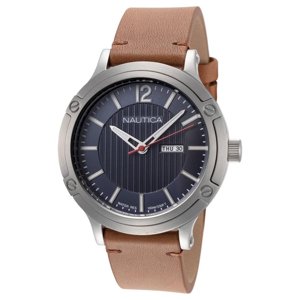 Nautica Classic Porthole Slim Stainless Steel Japanese-Quartz Men's Watch (NAPPSP901)