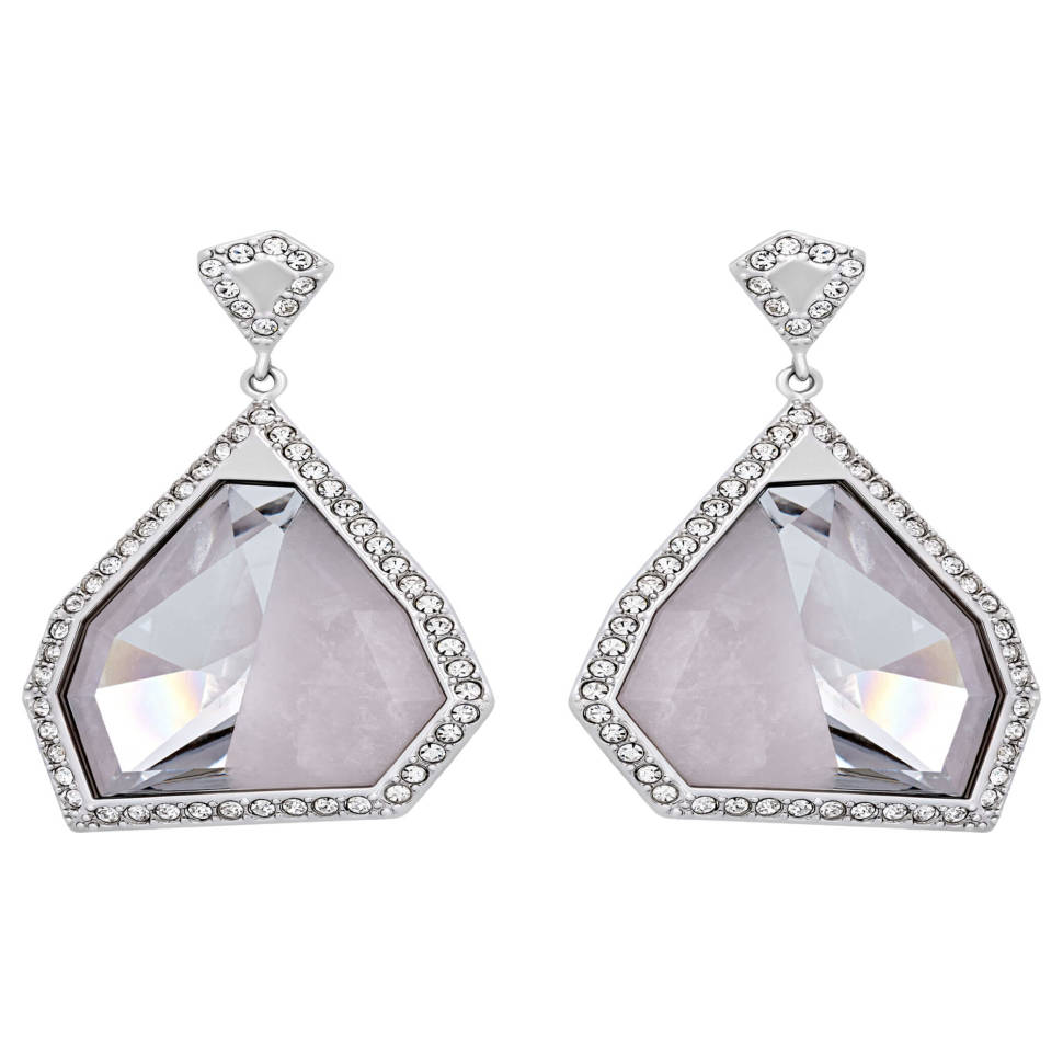 Swarovski Architectural Rhodium-plated Pink Crystal Earrings