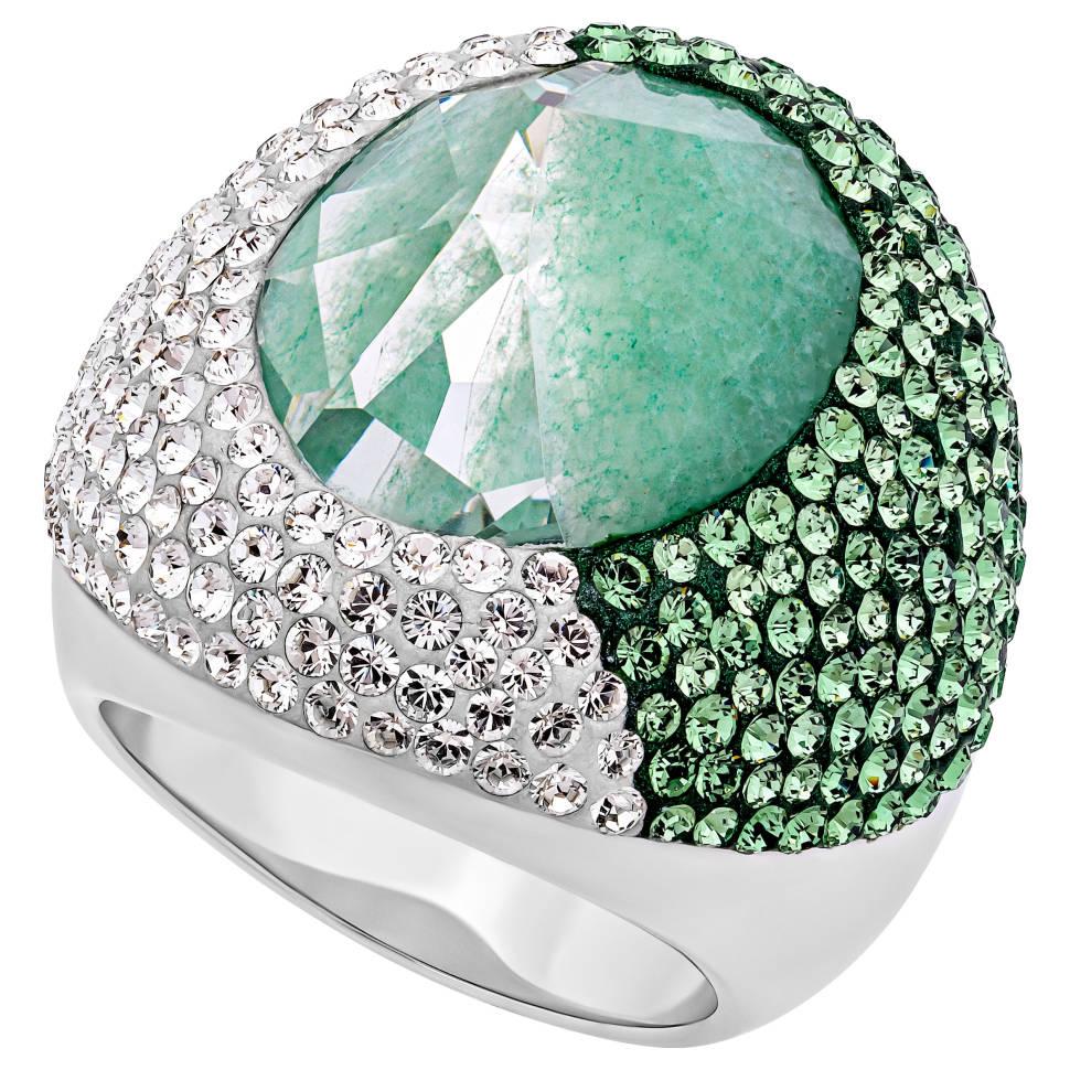 Swarovski Oval Rhodium-plated Green Clear Crystal Ring