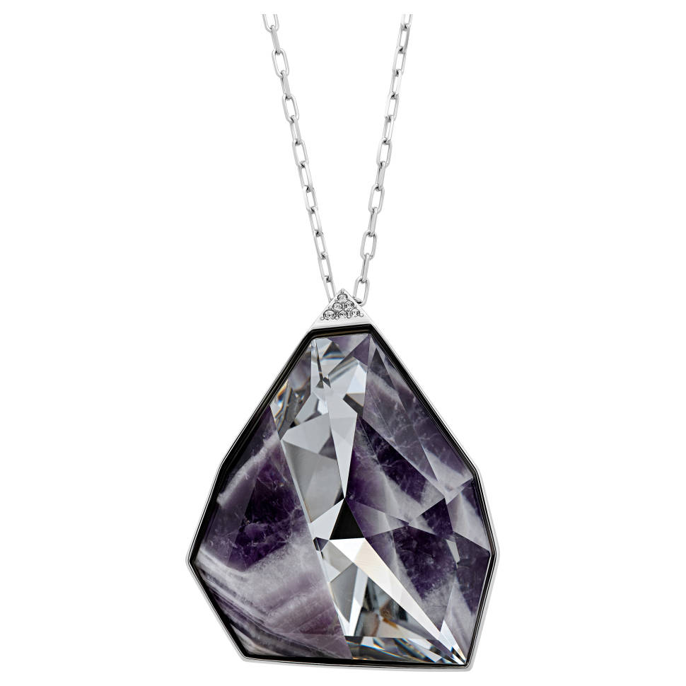 Swarovski Women's Architectural Rhodium-plated Purple Crystal Pendant