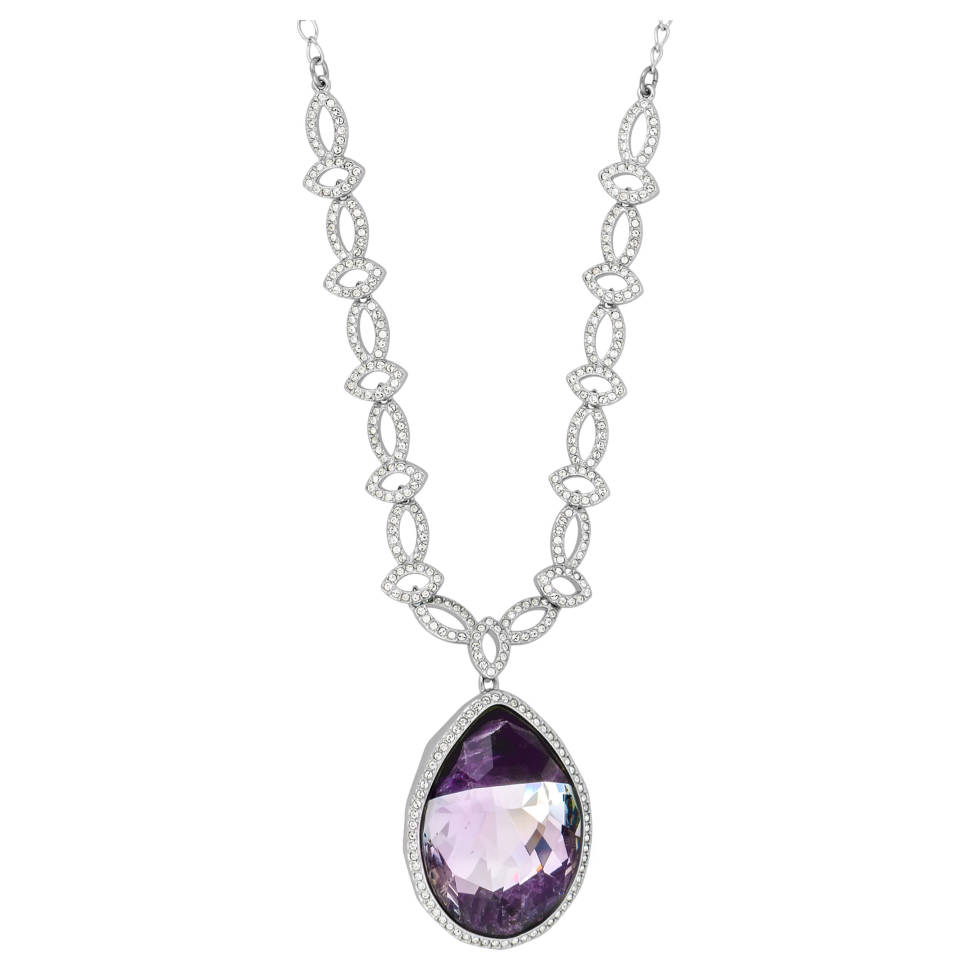 Swarovski Dew Florette Rhodium-plated Purple Crystal Necklace