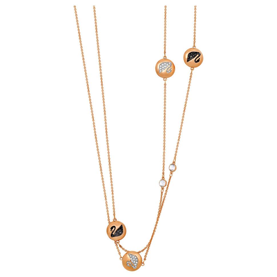 Swarovski Hall 18k Rose Gold-Plated Clear Black Crystal Necklace