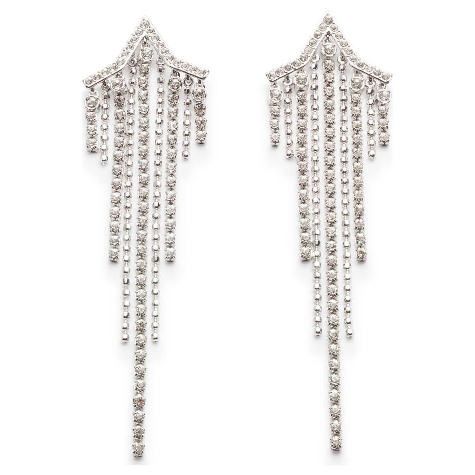 Swarovski Fit Rhodium-Plated Clear Crystal Women's Earrings